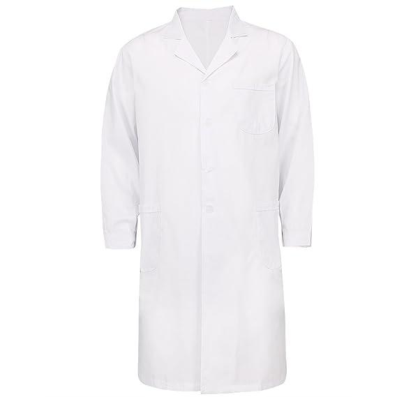 iiniim Unisex Bata Blanca Laboratorio Uniforme de Trabajo Disfraz Doctor Enfermera Médico Farmacia Abrigo Chaqueta para Hombre Mujer Blanco XXL: Amazon.es: ...