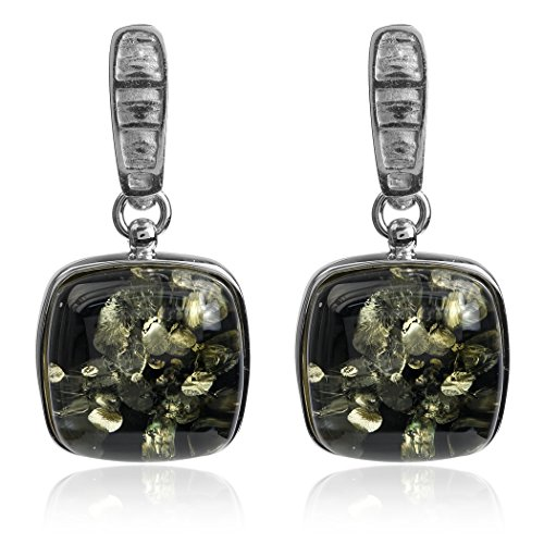 Boucles d'oreilles Carré Chaîne de collier avec pendentif ambre Verte Argent Sterling 46cm