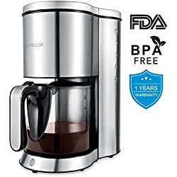 Drip Coffee Maker, HAMSWAN AD-103 Stainless Steel Coffee Maker Coffee Pot, Small 10 Cup Coffee Machine with Glass Thermal Carafe, Insulated, Keep Warm, Automatic Shut Off for Single Serve & House Use