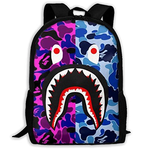 B-ape Sh-ark Pattern Backpack, Lightweight Multi-Function College School laptop Bookbag 17 Inches