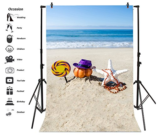 Leyiyi 3x5ft Photography Background Seaside Happy Halloween Party Backdrop Wave Sand Sunshine Thanksgiving Holiday Blue Sky Lollypop Pumpkin Necklace Starfish Photo Portrait Vinyl Studio Prop