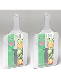 Access (1) Set 2 Paddle Shaped Plastic CUTTING BOARDS W/bonus PAIRING KNIVES deliver