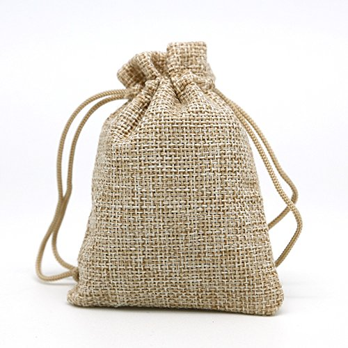 Lot of 15 Pack Burlap Bags with Double Drawstring for Wedding Party Halloween and DIY Craft(4.9