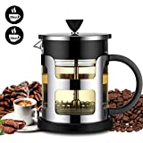 French Press Coffee Maker, FlatLED Coffee/Tea Maker, 304 Grade Stainless Steel Filter, 3 Level Filtration System, Heat Resistant High Borosilicate Glass, Protecting Black Base & handle (34 oz)