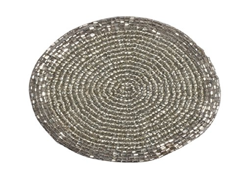 Glass Beaded Round Coasters Set of 6 Silver Finish Tabletop Décor