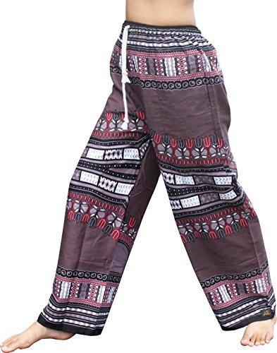 Raan Pah Muang RaanPahMuang Baggy Straight Leg Carnival Dashiki Print Unisex Pants Africa Print, X-Large, Dark Gray by Raan Pah Muang