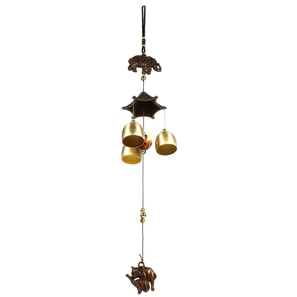 Antique Metal Elephant Wind Chime Beaded Bells Windbell Church Home Garden Yard Outdoor Hanging Decorations Ornament Gifts Yosoo