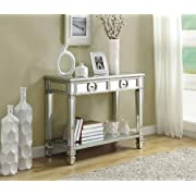 Monarch Specialties Length Sofa Console Table with 2-Drawer, 38-Inch, Mirrored