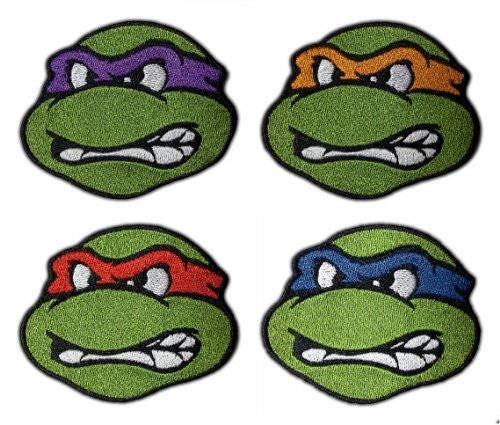 Set of 4 TMNT Patches (2.5 Inch) Embroidered Iron/Sew on Badge Applique Teenage Mutant Ninja Turtles Patch Souvenir Retro Costume]()