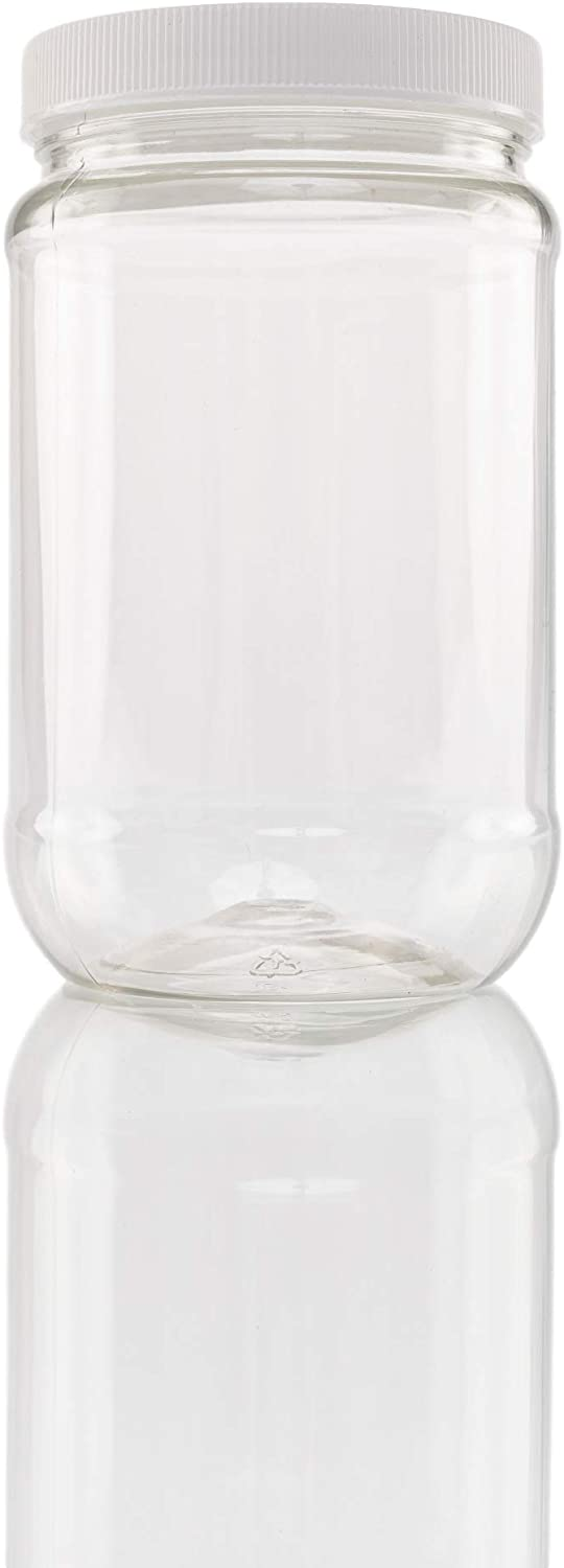 Plastic Wide Mouth Jar with Pressurized Screw On Lid Pack of 12 (16 oz) Crystal Clear Storage Container with White Pressure Sealed Foam Lined Cap É