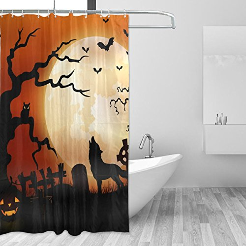 JSTEL Decor Shower Curtain Halloween Night Wolf Pumpkins Owl Moon Pattern Print 100% Polyester Fabric Shower Curtain 60 x 72 Inches for Home Bathroom Decorative Shower Bath Curtains