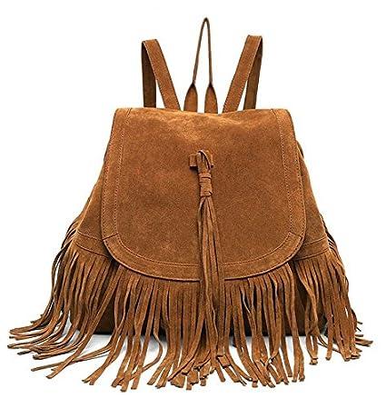 DAYAN Bolsa de viaje mochila bandolera con flecos moda casual retro de Mujer bolsa Color marrón: Amazon.es: Equipaje