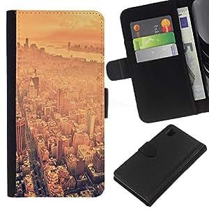 """A-type (EE.UU. Big City"""") Colorida Impresión Funda Cuero Monedero Caja Bolsa Cubierta Caja Piel Card Slots Para Sony Xperia Z1 L39"""