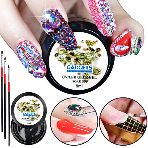 - Nail Art 8ml Rhinestone Glue Gel Adhesive Resin Gem Jewelry Diamond Polish Clear Decoration With Pen Tools (UV Light Cure Needed) Thicker&More Sticky than Others By GADGETS ENTREPOT