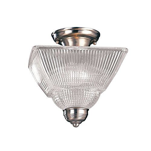 Hudson Valley Lighting Majestic Square 2-Light Semi Flush - Satin Nickel Finish with Clear Glass Shade -