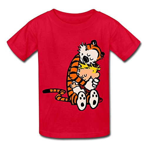 Kids Boys Girls T-shirt Thomas Calvin And Hobbes Tiger Anime Red Size S
