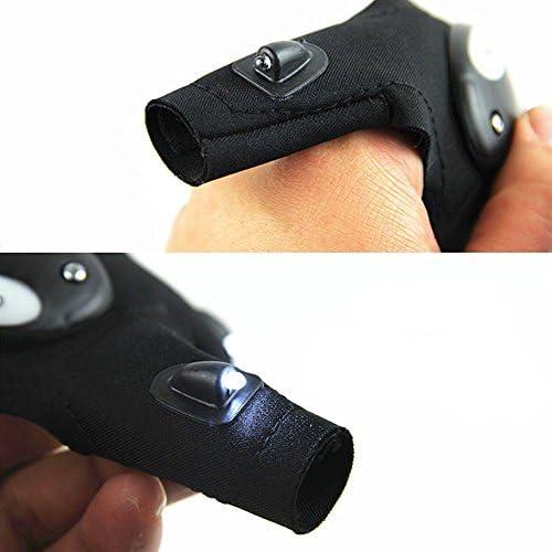 star-art滑り止め半指釣りグローブwith 2個のLEDライトのライト、修理、アウトドア釣りサイクリング(1ペア手袋=左+右