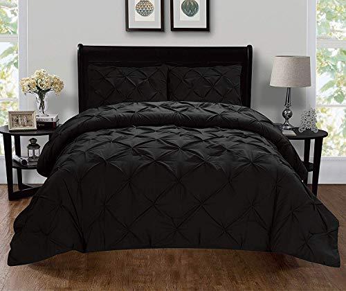 Celine Linen  Luxury Super-Soft Coziest 1500 Thread Count Egyptian Quality 3-Piece Pintuck Design Duvet Cover Set, (Insert Comforter Protector) Wrinkle-Free, Full/Queen, Black