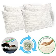 Clara Clark Shredded Memory Foam Gel Fiber-Filled Cool All Side Sleeper Bed Pillow, King Size, Pure Calming White, 4-Pack, with Rayon made from Bamboo Colored Washable Hypoallergenic Zippered Removable Cover, Natural Supportive Alignment, May Reduce Snoring, Migrants, Back & Neck Pain