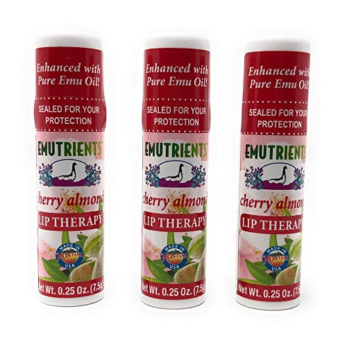 Montana Emu Ranch - Lip Therapy Lip Balm - 0.25 Ounce - Cherry Almond Flavor - 3 Pack - Made with Pure Emu Oil