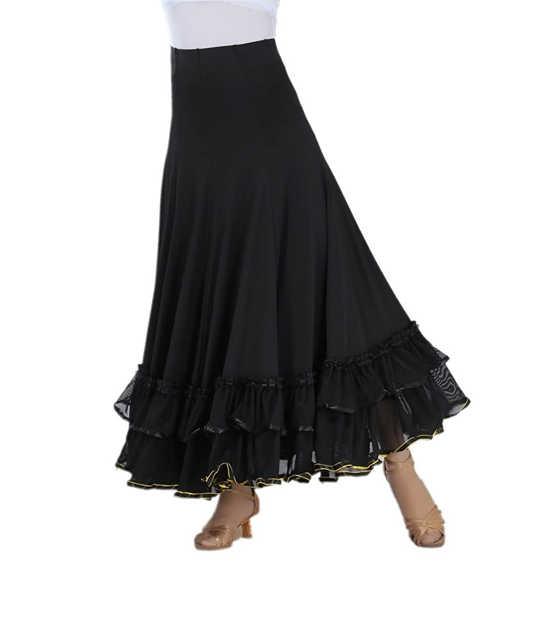 Steampunk Skirts | Bustle Skirts, Lace Skirts, Ruffle Skirts CISMARK Elegant Ballroom Dancing Latin Dance Party Long Swing Race Skirt $39.99 AT vintagedancer.com