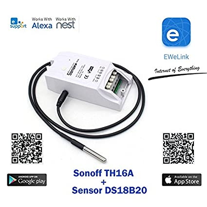 buynow365 sonoff th10 a/16 A itead WiFi romote Smart Switch inalámbrico, Temperature and