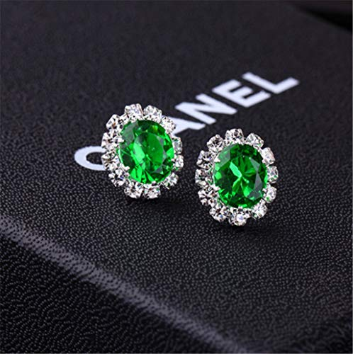 Creative Stylish Oval Diamond Earrings Multicolor Flash Diamond Zircon Earrings,Green