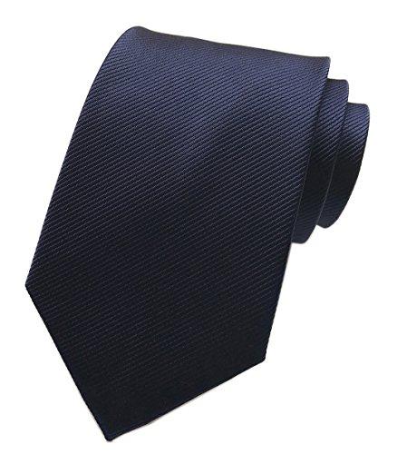 Elfeves Men's Narrow Navy Blue Tie Adult Formal Self Necktie Father's Day ()