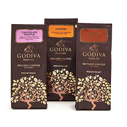 Godiva Chocolatier Ground Coffee Variety Set, 3 Flavors, Chocolate Truffle + Hazelnut Creme + Caramel, 30 Ounce