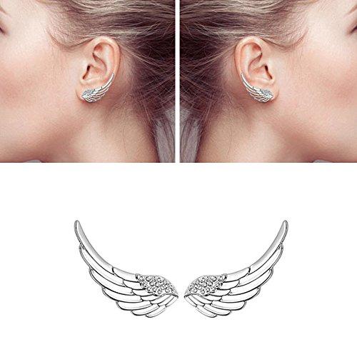 (Ear Crawler, Mariafashion Cuff Earrings Sterling Silver Ear Climber Hypoallergenic Ear Wrap Angle Wings Diamond Zircon Stud Earrings)