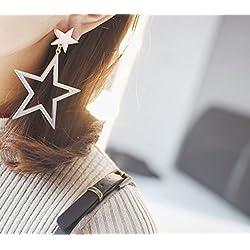 JD Million shop 2017 New Korean Accessories Big Oversize Round Heart Star Drop Earrings For Women Long Pendients Brincos Girls Fashion