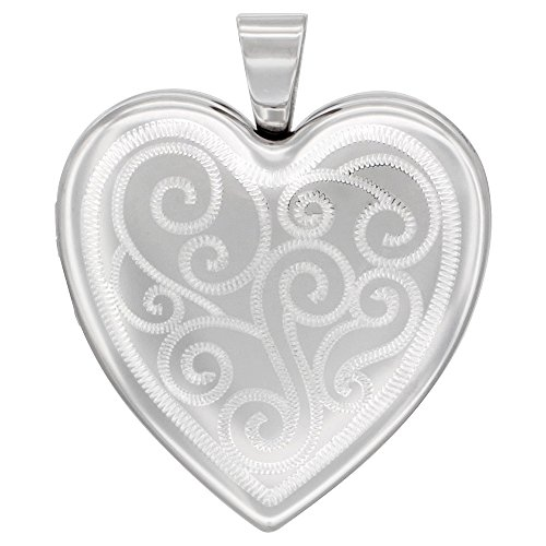 Sterling Silver Heart Locket Necklace 4 Picture Scroll Engraved, 16 inch Boston Chain