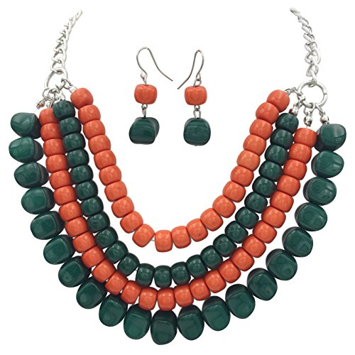 (4 Row Layered Bib Bubble Statement Silver Tone Necklace & Earrings Set (Orange & Green))