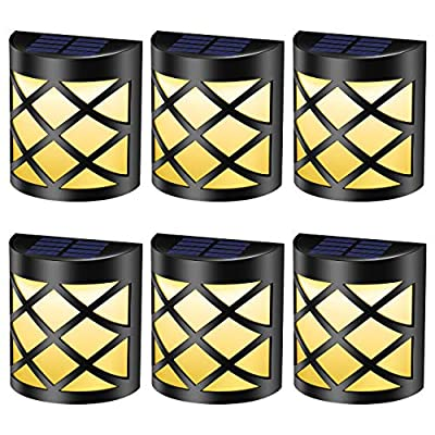 Pack of 6 Solar Fence Lights, 6 LEDs Per Light, Waterproof Solar Wall Lights for Outdoor Deck, Patio, Stair, Yard, Path and Driveway - Warm White