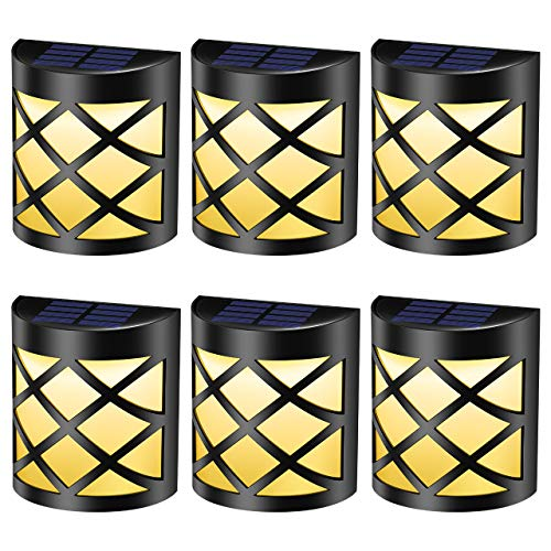 Solar Deck Light Outdoor with Retro Design, Premium 6 LEDs, Waterproof Solar Powered Wall Lights Lighting Decor for Garden, Path, Deck, Fence, Stair, Patio, Backyard (Pack of 6, Warm White Light)
