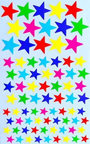 Multi color Star stickers- 3 sizes --6 colors--Total Count Star Shape Adhesive Labels (790 Stickers)