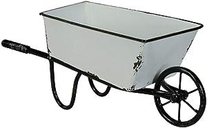 "Decorative Wheelbarrow Planter White Metal 12.5"" Decorative Display Vintage Inspired Garden Decor"