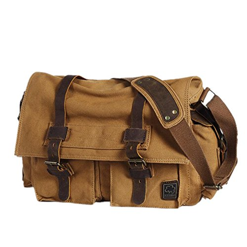Yellow Canvas Laptop Inch Shoulder Bag Messenger Leather 16 Fits Military xE46qw7zW