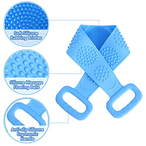 Silicone Back Scrubber for Shower, cshare Silicone Body Scrubber for Men Exfoliating, Comfortable Massage Silicon Bath Body Brush for Women, Eco Friendly Hygienic Skin Health Washer (Blue)
