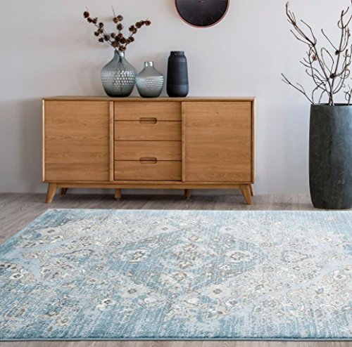 (4620 Distressed Blue 7'10x10'6 Area Rug Carpet Large)