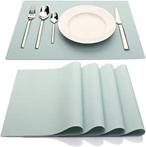 IYYI Silicone Placemats,Placemats for Kids,Placemats Set of 4 Waterproof Heat Resistant Non-Slip Kitchen Table Mats for Dining Table, Easy to Clean (Light Blue)