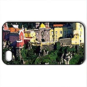 Pena-Palace-Portugal - Case Cover for iPhone 4 and 4s (Houses Series, Watercolor style, Black)