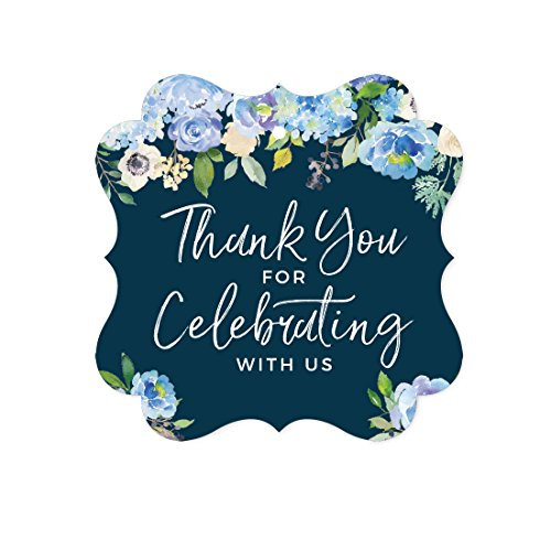 e Hydrangea Floral Garden Party Baby Shower Collection, Fancy Frame Gift Tags, Thank You for Celebrating With Us, 24-Pack (Blue Hydrangea Sticker)