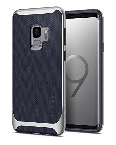 Spigen Neo Hybrid Galaxy S9 Case with Flexible Herringbone Pattern Protection and Reinforced Hard Bumper Frame for Samsung Galaxy S9 (2018) - Arctic Silver