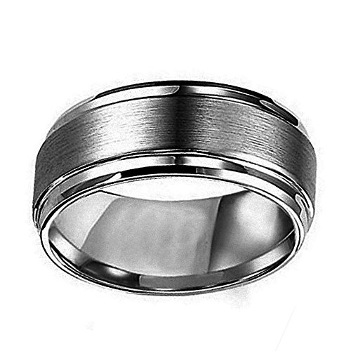 Free Engraving Personalized Titanium Wedding Band Ring 8mm Flat Brushed Center Shiny Edge Ring