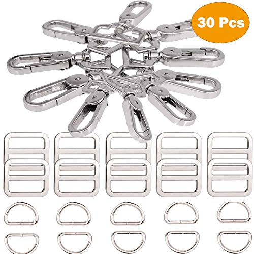 Swivel Lobster Clasps Clips Lanyard Snap Hook and Slide Buckles and Metal D Ring Semi-Circular D Ring for Handbag Bags Cat Dog Collar Buckles Ring Hand DIY Accessories Hardware Craft