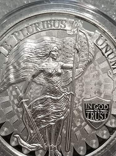 (New Lady Liberty Freedom Girl 1 oz .999 Silver American Flag Sword Snake fascesHIGH Relief)