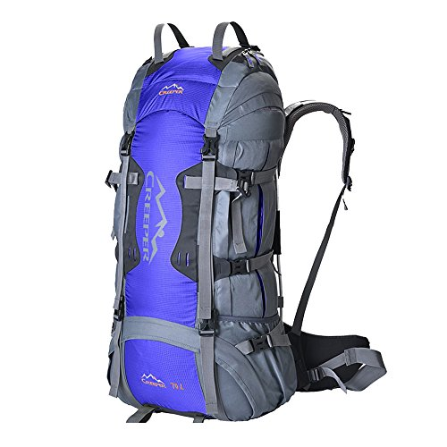 Creeper Outdoor Sports Camping Hiking Waterproof Backpack Daypacks Professional CR Mountaineering Bag 70L Travel Trekking Rucksack with Rain Cover (Blue) by Creeper