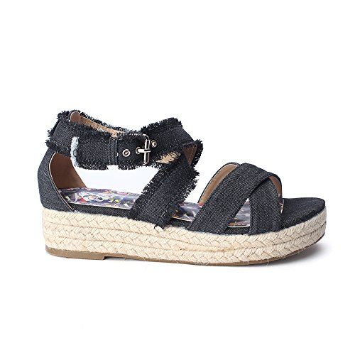 Christian Womens Strap (Christian Lacroix Luisa Women's Ankle Strap Platform Denim Espadrille Sandals, Black Denim, Size 7)