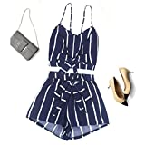 Pandaie Sexy Womens Striped Shirt Sleeveless Vest Blouse + Shorts Two-Piece Outfit for Women